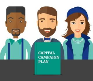 cartoon with three hip workers with capital campaign plan