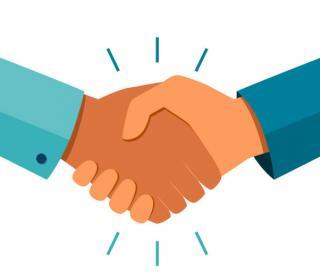 Graphic of a handshake.